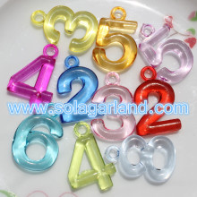 20*30MM Acrylic Transparent/Opaque Digit Number Beads Charms Pendants
