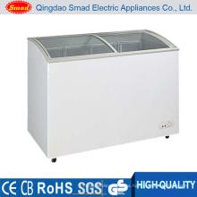 Mini congelador horizontal de la exhibición del helado de la puerta de cristal 138L mini