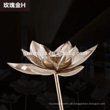 hohe Qualität lange Stamm Silber / Roségold Eisen Lotus Blatt Handwerk