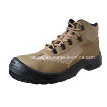 Coffee Crazy Horse Leather Safety Shoes with Reflector (HQ03053)