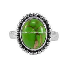 Natural Green Copper Turquoise Gemstone 925 Solid Silver Ring