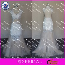 ED Bridal Exquisite Cap Sleeve Sweetheart Backless Mermaid Beaded Lace Appliqued Tulle Evening Dress 2017