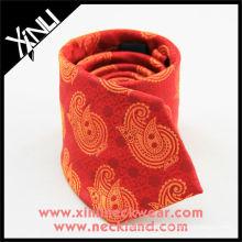 Paisley amarilla roja corbata personalizada de seda