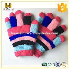 Großhandel billig Kinder Unisex Regenbogen strickte Winter Handschuhe