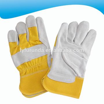 10.5 pulgadas de cuero de vaca amarillo dividido rigger guantes de trabajo con palma completa para la promoción