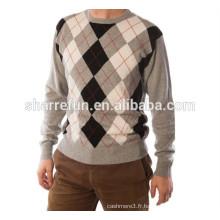 Vente en gros style intarsia argyle 100% pur hommes en tricot en cachemire