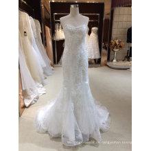 Meerjungfrau trägerlosen Sliver Applique Brautkleid