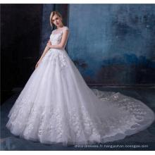 Robes de mariée blanches élégantes dentelle ourlet longues robes de mariée de train avec perle et cristal