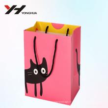 2018 gros chat mignon recyclable en carton sacs-cadeaux personnalisés avec des poignées