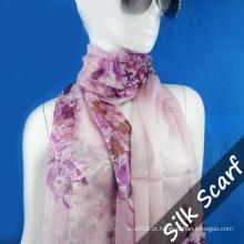 Lenço de seda de impressão de tela para senhora