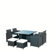 Black Outdoor Patio Rattan Möbel mit 8 Sitzer