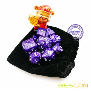 Set of 9 Polyhedral Dice Die D30 D24 D20 D12 D10 D8 D6 D4 Game Dice Set Dungeons and Dragons DND MTG RPG Dice (Marble Purple)