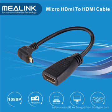 Alta velocidad de 90 ángulos Mirco HDMI a cable HDMI