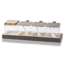 Frascos de especiarias em plástico Caixa de tempero Chocolate Cor