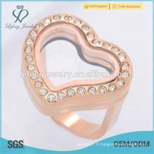 Meilleur engagement de vente et mariage en acier inoxydable coeur flottant locket anneau bijoux