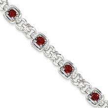 Steel Metal Bracelet with Red Crystal Stone