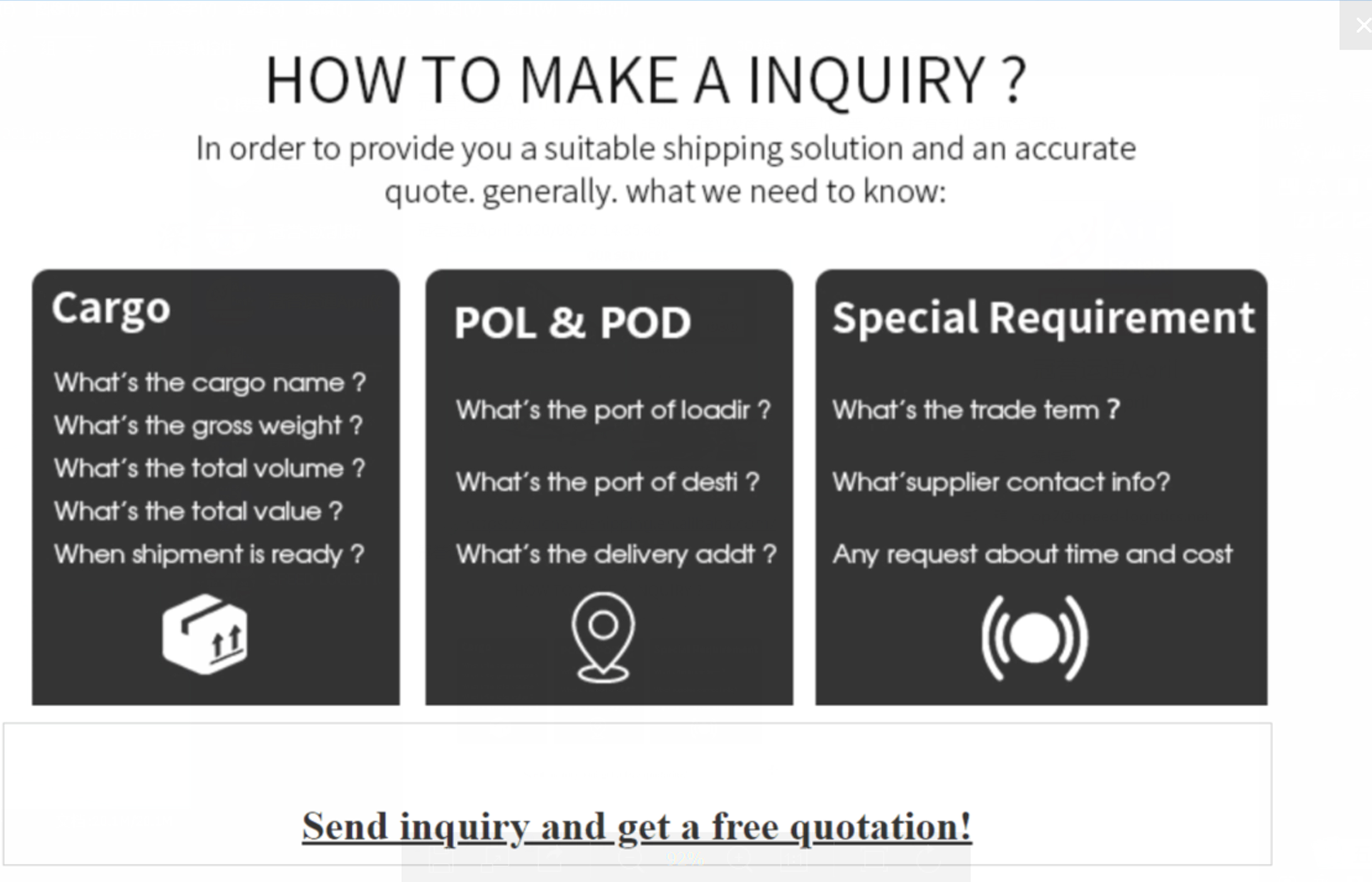 air freight inquiry