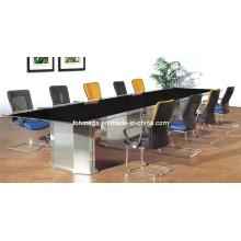 Mobilier de bureau Table de conférence en verre rectangulaire Table de réunion en verre en noir (FOHJ-8085)