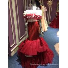 Meerjungfrau Trompete Rock Red Lange Hochzeit Abendkleid