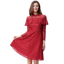 Kate Kasin Women's Ruffled Long Sleeve High Neck Dark Red Lace A-Line Dress KK000505-3