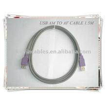 Câble d'extension USB standard gris 2.0 haute qualité Am à Af 1.5m
