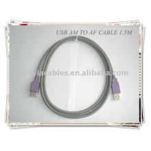 High quality Grey 2.0 standard USB extension Cable Am to Af 1.5m