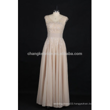 Elegant Scoop Neck Lace Applique Floor Length Evening Dress