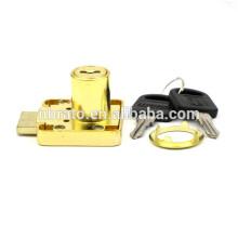 Preço baixo opcional Cilindro liga de zinco fechadura de gaveta dourada com chave
