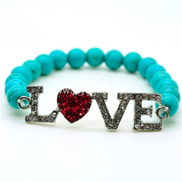 Turquoise 8MM Round Beads Stretch Gemstone Bracelet with Diamante Love Piece