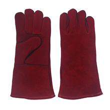 Red Cowhide Split Leather Industrial Hand Safety Welding Work Guts