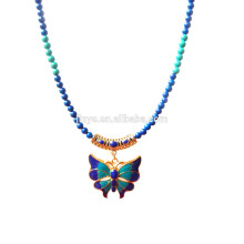 Fashion Blue Green Stone 24k Gold Plated Enamel Butterfly Pendant Necklace