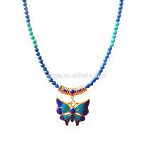 Мода синий зеленый камень золото 24k позолоченный эмаль Бабочка Подвеска ожерелье