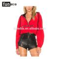 Red women hoodies t-shirt fashion zipped long sleeve t-shirt