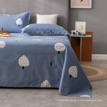 Hot Sale Sheet Set Best Quality Soft Comfortable Single Washed Blue Printing Bed Linen