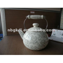 porcelain enamel teapot with wooden handle and full design