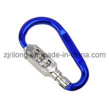 D Shaped Aluminum Alloy Carabiner Keychain with Lock Dr-Z0092