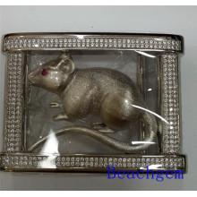 Zodiaco chino rata hebilla de plata para hombre