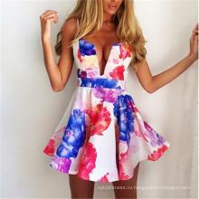 Популярные глубокие V-образным вырезом Backless Straps Sexy Mini Party Dress (58961)