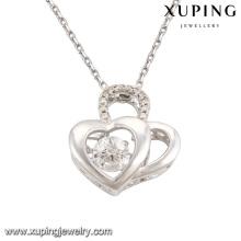 Collar-00085 moda elegante CZ diamante doble corazón rodio plateado imitación colgante, collar de la joyería