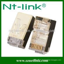 Chapeamento de ouro stp 8p8c rj45 plug modular