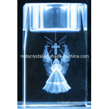 Engraved Crystal Cube Tealight Holder