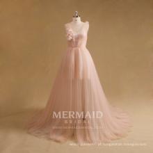 Venda por atacado vestido de noite feminino rosa de tulle