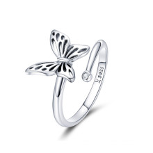 Custom New Cheap 925 Sterling Silver Opening Ring Female Butterfly Ring To Act The Role Of Wholesale
