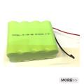Bloco da bateria recarregável de 9.6v AAA 800mah Nimh com cabo