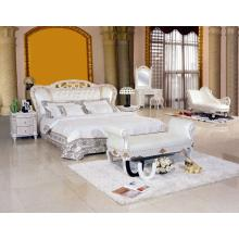 New Classic White Leather Bed (8085)