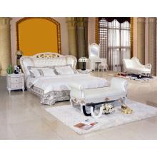 Новые классические белые кожаные кровати (8085)