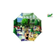 Zweischichtige maßgeschneiderte Digitaldruck-Markenlogo-Regenschirme, automatischer Luxus-Innendesign-Doppelschicht-Golfschirm