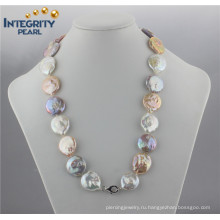 Мода Красочные перлы ожерелье AA 20мм монет жемчужное ожерелье