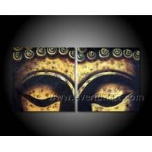 Pintura al óleo abstracta de la cara de Buddha en la lona (BU-020)