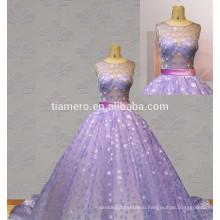 Горячие продажи новый дизайн сексуальная видеть сквозь назад свадебное платье фиолетовый вечернее платье